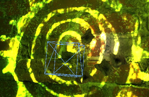 Image from Half-Life: Alyx analysed in RenderDoc, showing a wireframe cube around a bullet hole in the wall.