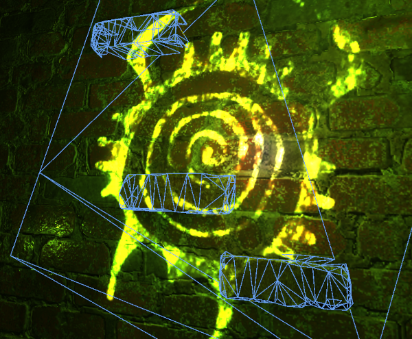 Image from Half-Life: Alyx analysed in RenderDoc, showing a wireframe mesh on the parts of the wall and bricks where the painted image is located.