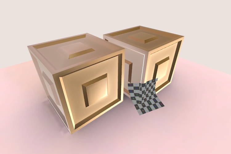 Rendering of a 3D scene with two cubes. A grey grid decal appears projected against the cubes.