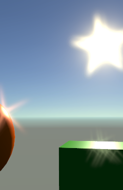 Rendering of a 3D scene with a cube and sphere lit by a visible sun. The sun and the brightest areas on the objects exhibit scattered and faint star shaped lens flares.