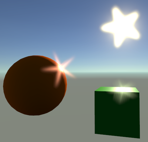Rendering of a 3D scene with a cube and sphere lit by a visible sun. The sun and the brightest areas on the objects exhibit star shaped lens flares.