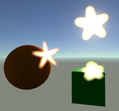 Rendering of a 3D scene with a cube and sphere lit by a visible sun. The sun and the brightest areas on the objects exhibit very bright star shaped lens flares.